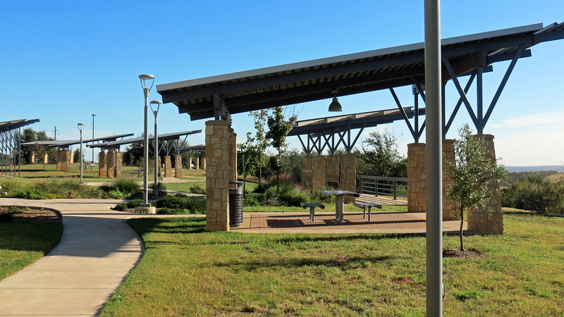 The building sits on a high bluff next to the interstate.  Several picnic areas have been built to take advantage of the view.