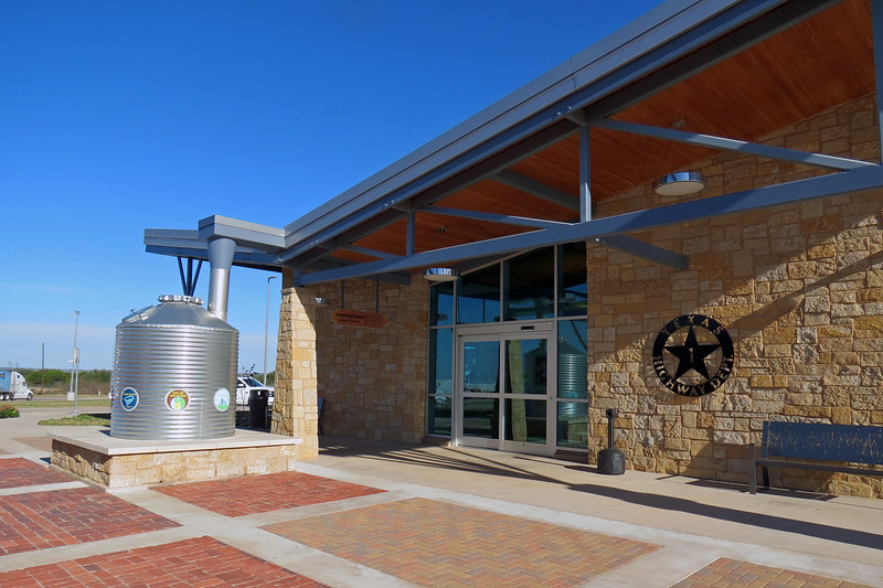 Both Eastland County eastbound and westbound rest areas opened in Spring 2016 to a lot of fanfare because of their sustainable design.  Buildings are constructed using environmentally friendly methods and materials.  The large tank seen in the photo above is part of a rainwater collection system.