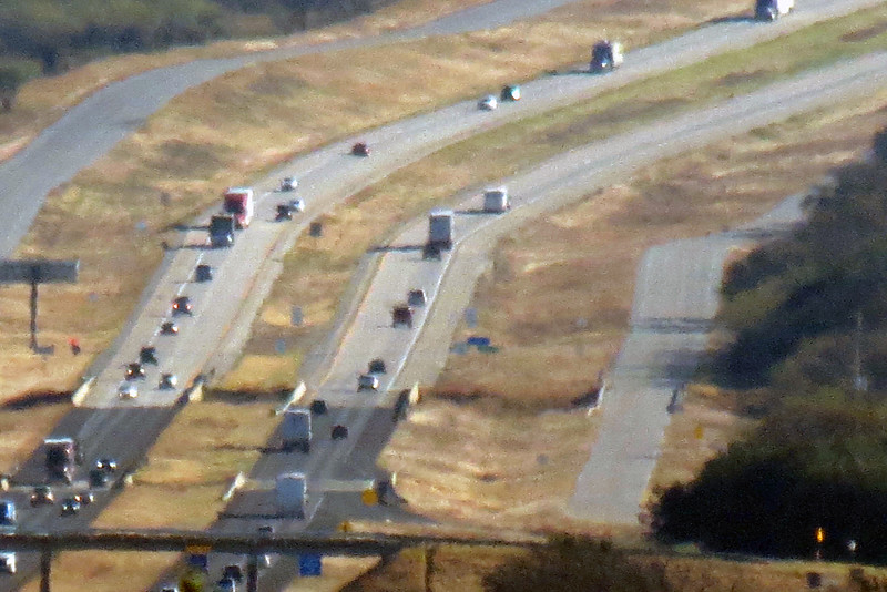 Zooming in on I-20 from the westbound Eastland County Rest Area.