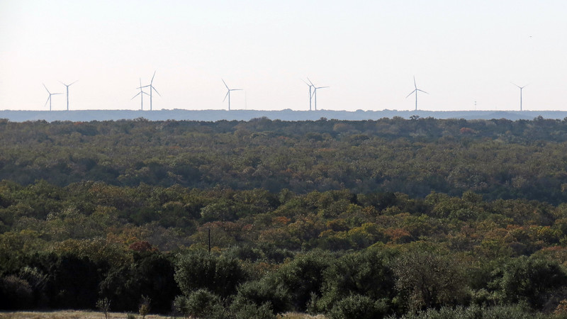 Wind power is quite prevalent in central Texas.  I saw a number of wind farms during my journey including the one seen above to the south of the interstate.