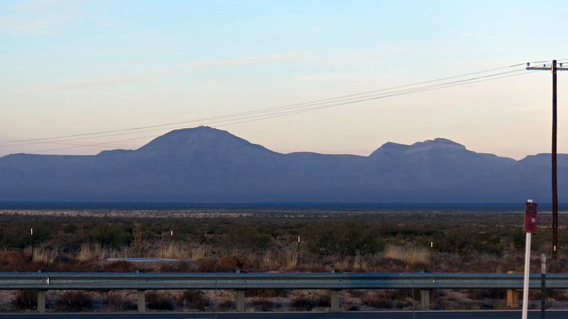 As near as I can determine, the two San Andres Mountains peaks seen in the photo above are (L) Salinas Peak (8,965 feet), and (R) Silver Top Mountain (8,140 feet).