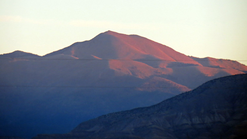 Sunrise over Sierra Blanca Peak (11,973 feet), Tularosa, NM.  I had varying levels of success trying to zoom in.