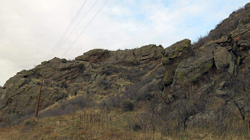 Rock formations in front of where we are stopped.