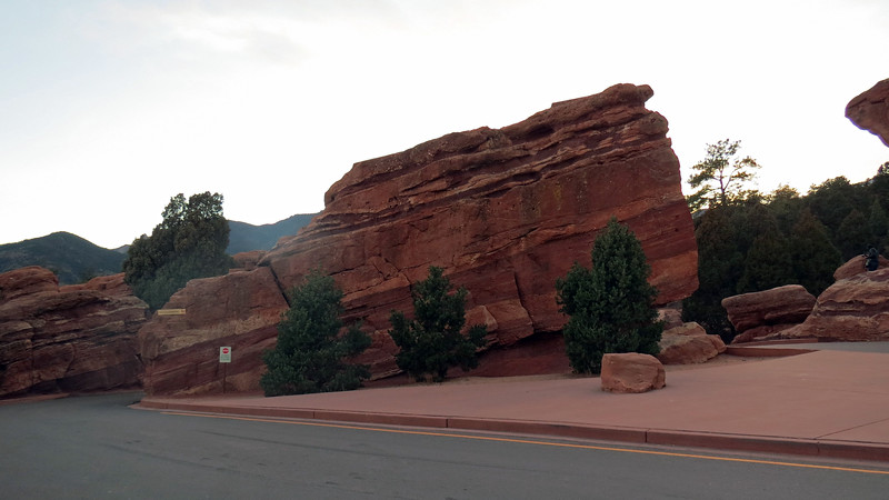 Across from Balanced Rock sits Steamboat Rock.