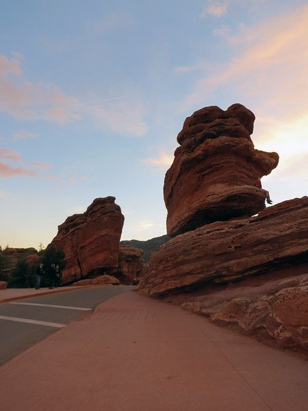 The two formations sit across one lane of the roadway from each other, (the roadway splits going around Steamboat Rock).