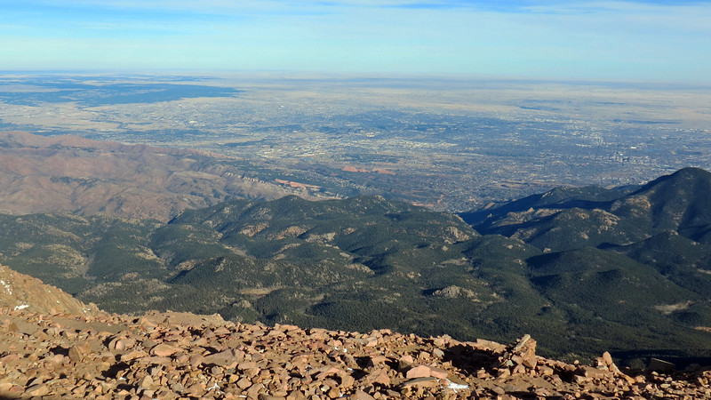 The city of Colorado Springs can be seen in the distance.