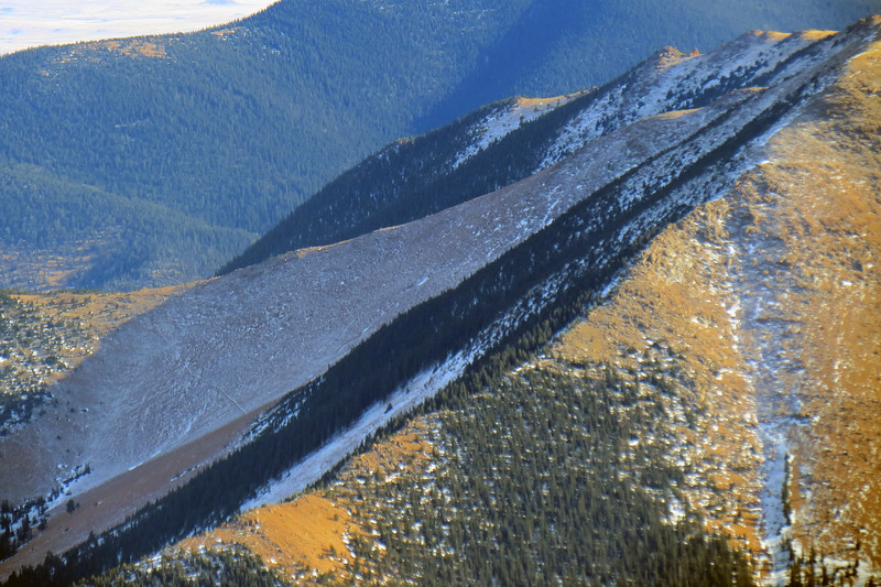 Zooming in on the side of Almagre Mountain (12,367 feet).