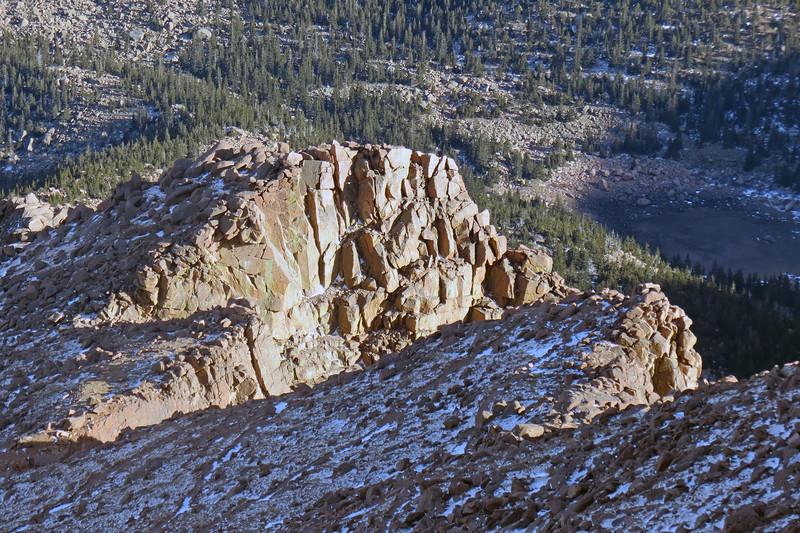 Zooming in on a rock peak on the eastern side of Pikes Peak.