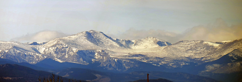 I stitched the above two photos together to make a decent panorama of the Mount Evans area, with Mount Evans (14,264 feet) being the prominent peak.
