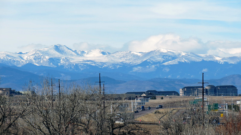 I believe the prominent peak in the photo above is Mount Evans (14,264 feet).