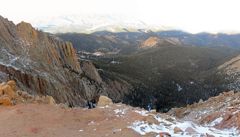 A three-picture panorama of the Bottomless Pit.
