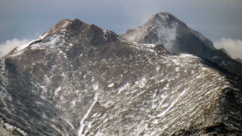 Zooming in on Mount Meeker (13,911 feet), with Long's Peak (14,255 feet) in the background.