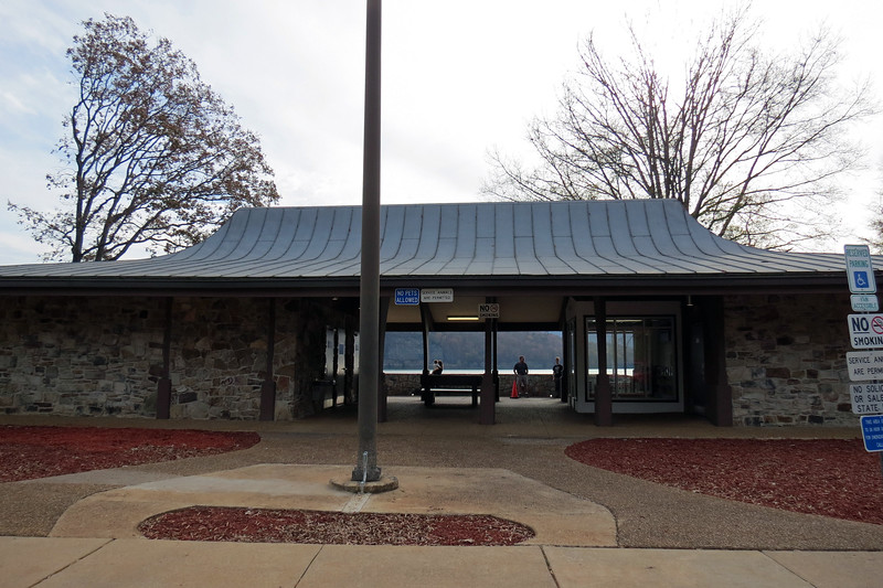 This seems like a traditional rest area that features all of the rest area standards such as restrooms, vending, and a place for travelers to stretch their legs during their journey.