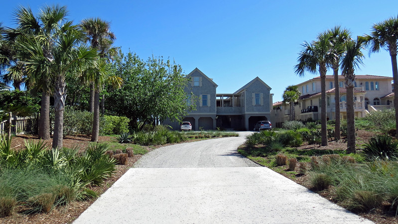 Some of the oceanfront homes are quite large.