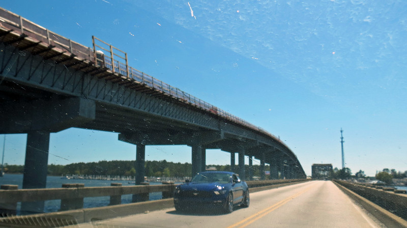 South Carolina Route 41 is in the midst of a major overhaul in this area.  A new Wando River Bridge is currently being built and is visible in the photos above and below.