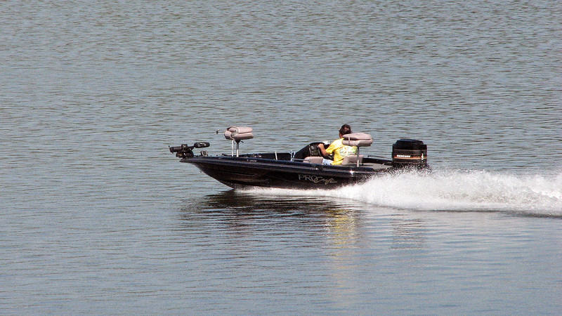 This boat was particularly fast, which makes sense given the 150 hp outboard motor on the back of it.