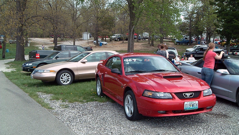 My Mark VIII and Greg's Mustang GT in our pit area.