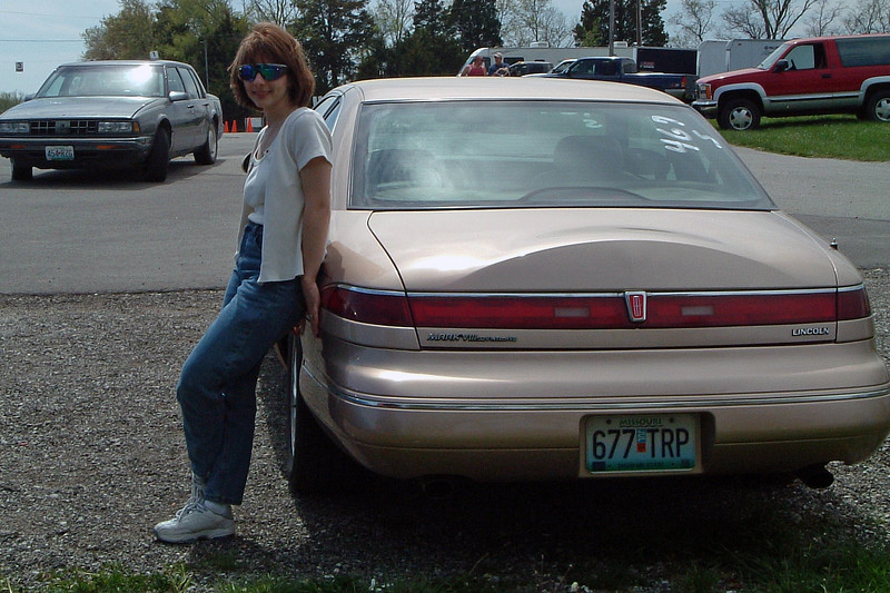 Tanja and my 1996 Lincoln Mark VIII.