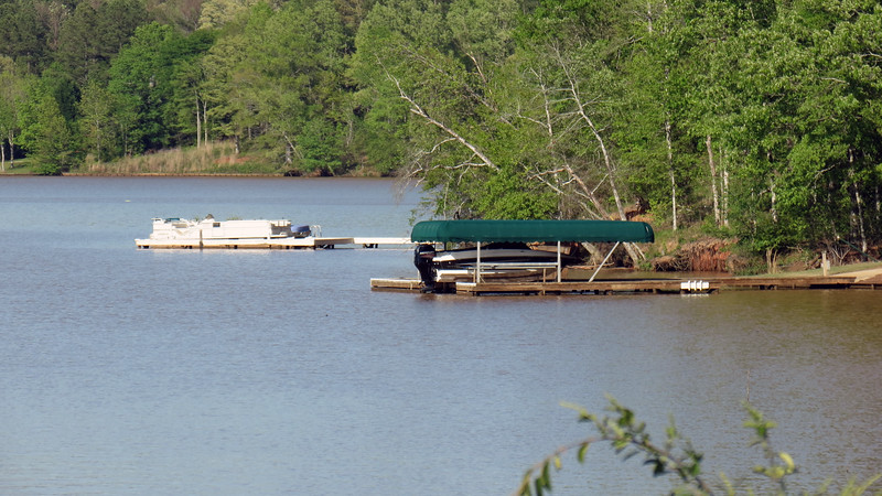 There are a couple of docks visible nearby.  This side of the lake shore is residential, (the Northwoods neighborhood of Greensboro, GA).