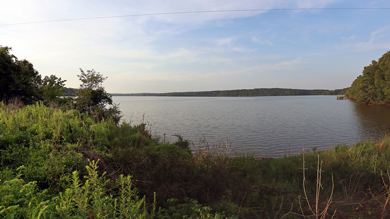 A three-picture panorama looking northwest over Lake Oconee.