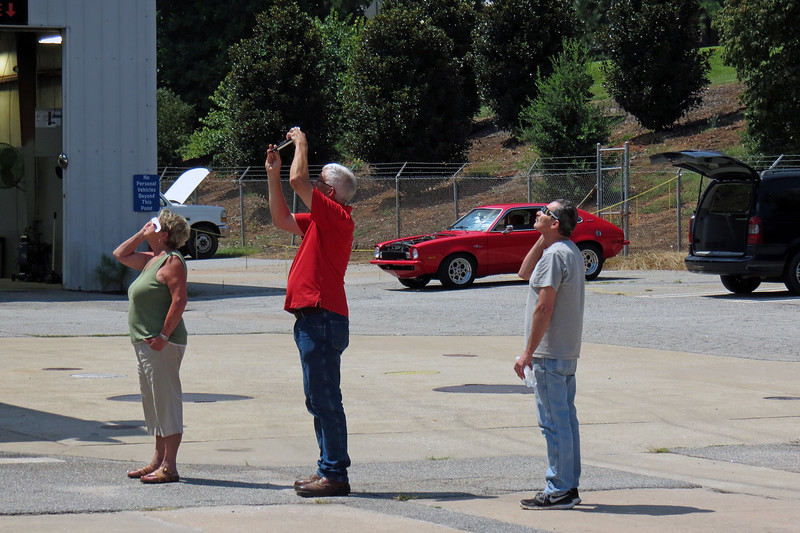 Watching the solar eclipse.