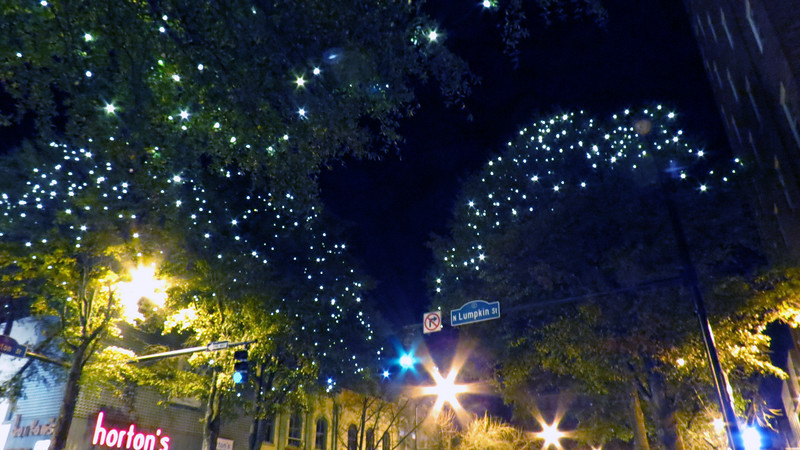 Every holiday season, the trees and light posts along the streets are decorated for Christmas.