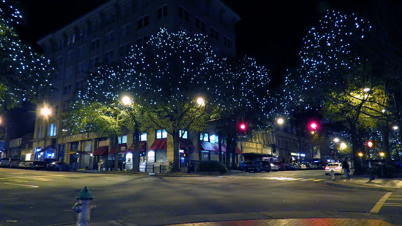The decorations continued at the intersection of Clayton Street and College Avenue.