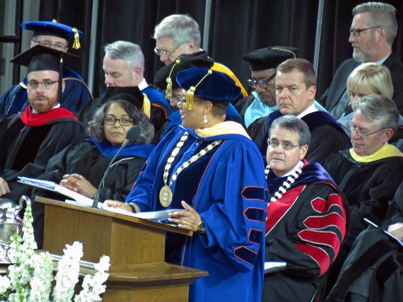 Dr. Morehead introduces Commencement speaker Dr. Cheryl Davenport Dozier.