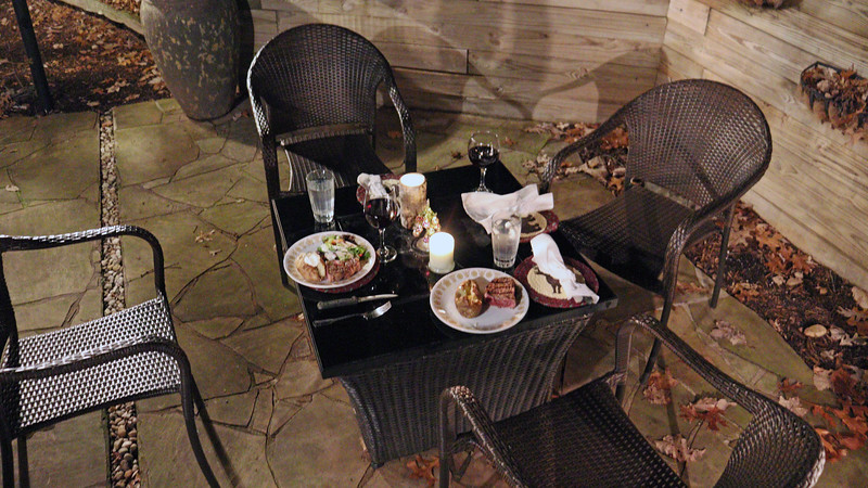Temperatures were still in the upper 60s when we arrived.  So it was decided that dinner would be served outside.