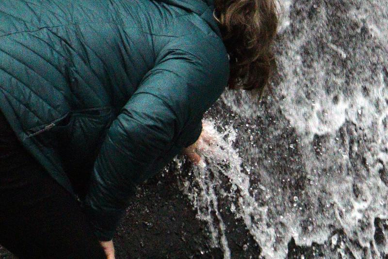 Touching the falls.
