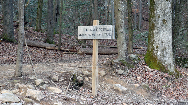 The trail to the falls follows the path of the Benton MacKaye Trail (BMT), a 300-mile long trail that goes from Springer Mountain in Georgia to Big Creek Campground at the northeastern edge of Great Smoky Mountains National Park in North Carolina.  The BMT passes through here and is used to access the falls from the parking area.
