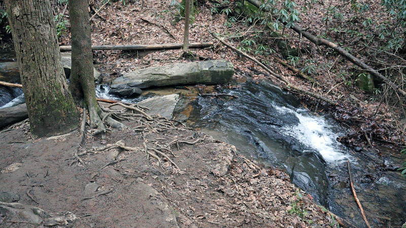 The base of the falls.