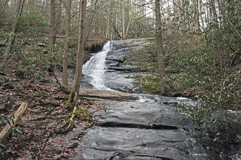 The upper cascade of Fall Branch Falls.