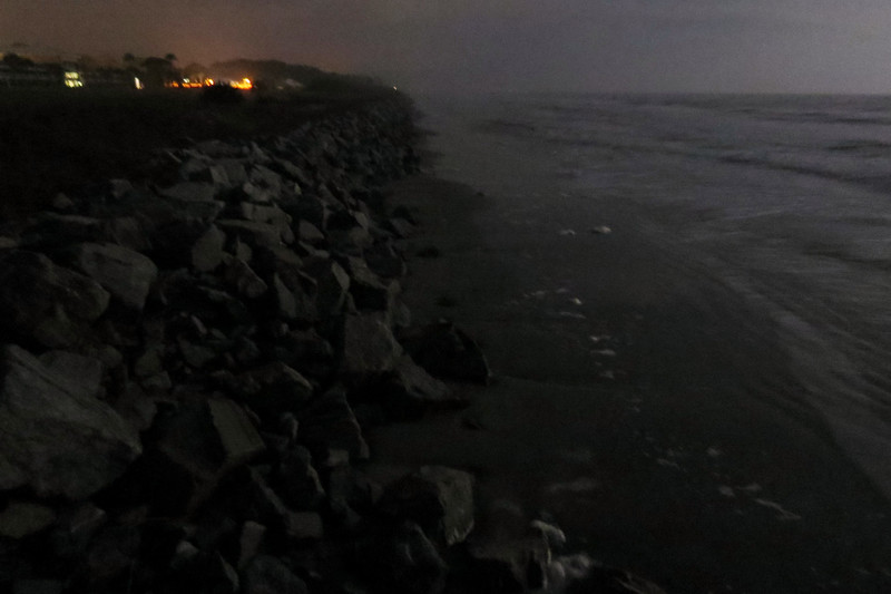 Like other places on the island, the beach area in this location disappears during high tide.