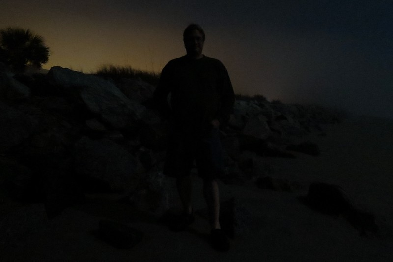 So I turned the camera toward the rock wall and tried again.  The photo above turned out too dark.