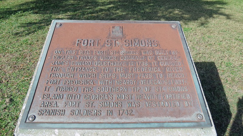 Several historic events are commemorated on this site.  The photo above shows the historical marker that describes the history of Fort St. Simons built by General James Oglethorpe in 1738 in this area.  The fort was destroyed by Spanish soldiers in 1742.