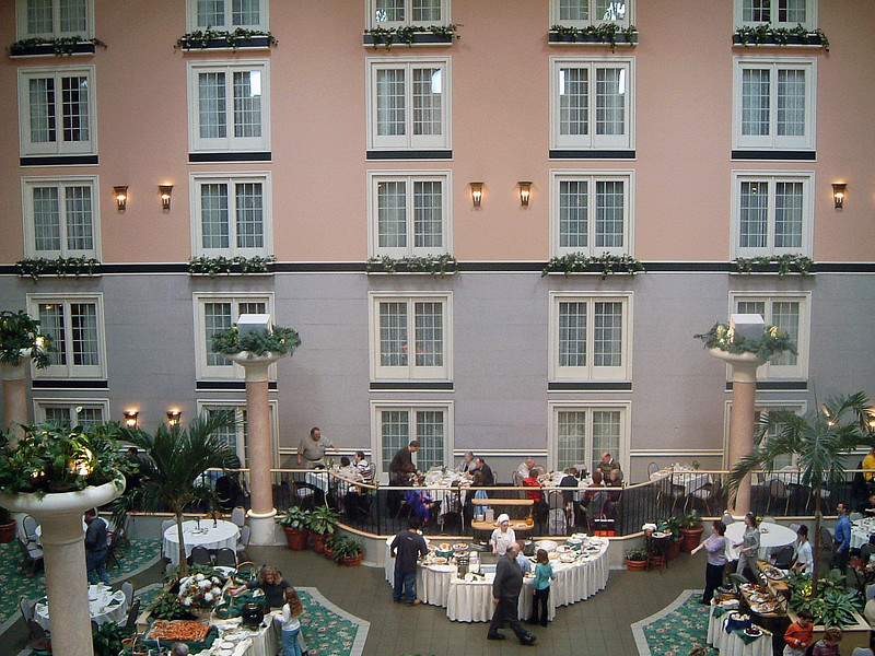 Brunch was held in the Palm Court, which was in the center of one wing of the hotel.  The guest rooms overlooked the center courtyard.