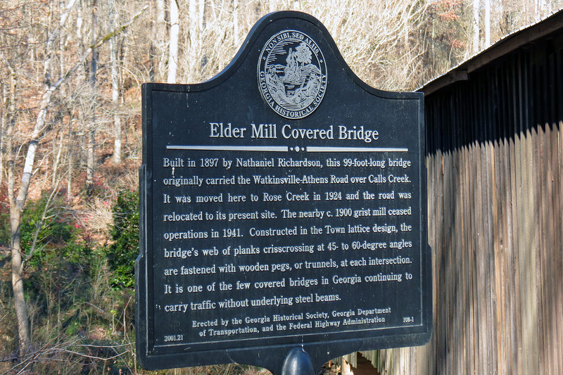 The Elder Mill Covered Bridge is located off of Georgia Route 15, (the Greensboro Highway), south of the city of Watkinsville.