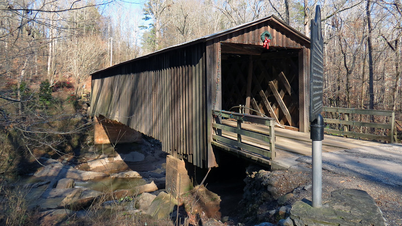 The bridge dates from 1897 and is one of 13 covered bridges remaining in Georgia that still carries traffic.