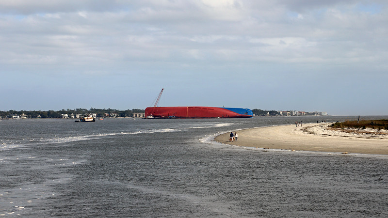 While planning this trip, I saw several news stories about a cargo ship that capsized in St. Simons Sound, and was hoping I could see it from the pier.