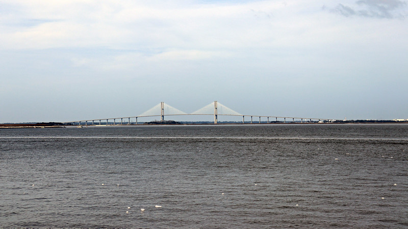The Clam Creek Picnic Area sits near the northern tip of the island across from the Jekyll Island Campground and offers wonderful views of all of the nearby attractions.  The pier faces northwest directly toward Brunswick.  The photo above looks directly west at the Sidney Lanier Bridge.