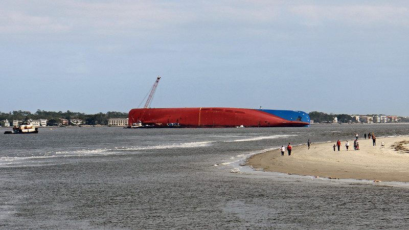 The MV Golden Ray, a vehicle carrier loaded with around 4,200 cars, was leaving the Port of Brunswick on September 8, 2019 when it capsized in between St. Simons and Jekyll Islands.  Even though St. Simons Sound is the only way into/out of the port, maritime traffic has been minimally impacted, and the Port of Brunswick remains fully operational.  Ship captains just have to watch out for the ship taking a nap.