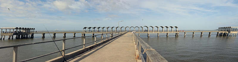 A three-picture panorama of the Jekyll Island Pier.
