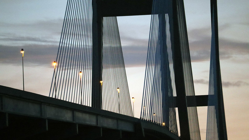 The current Sidney Lanier Bridge is a Cable-Stayed design where deck support cables are anchored to a series of towers across the span.