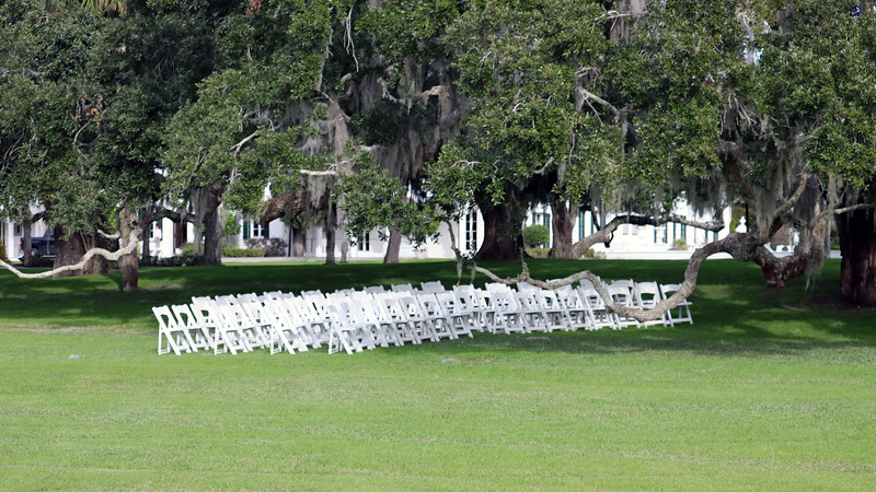 The Riverfront Lawn is a popular spot for weddings and other events.  I've seen chairs here many times during my visits.