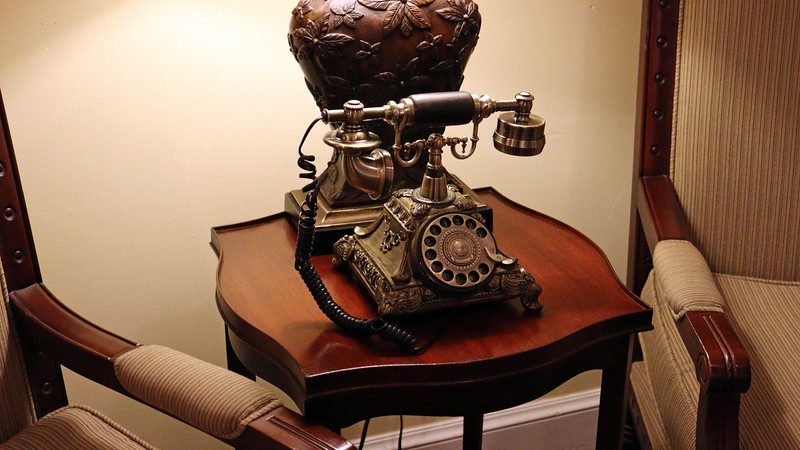An antique telephone.