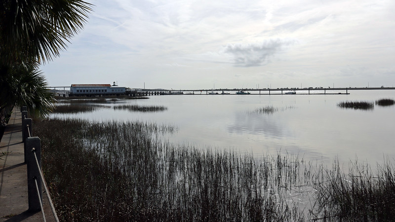"""Once past the Chichota ruins and Plantation Oak, we arrived back at the Jekyll Island Club Hotel and its next door neighbor Crane Cottage.  A giant """"Riverfront Lawn"""" occupies the area in front of both buildings and offers completely unobstructed views of the marsh."""