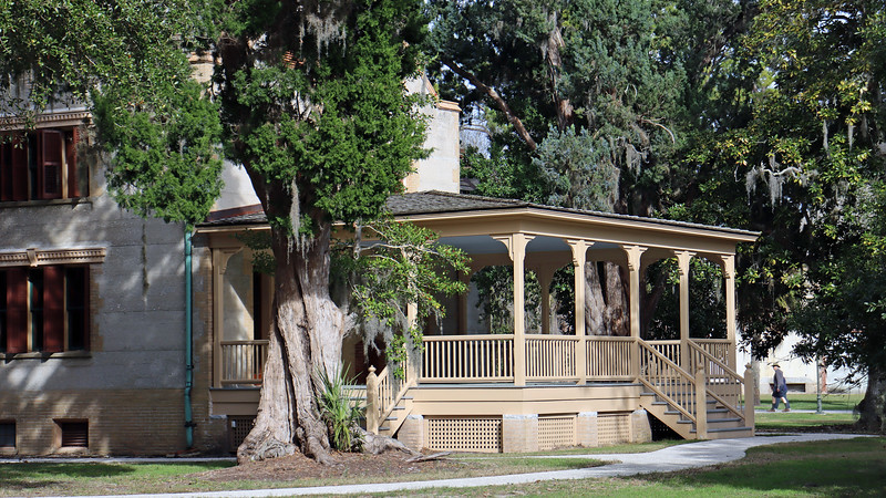 Restoration work on Hollybourne began circa 1998 and has been ongoing ever since via volunteer labor.  The beautiful covered porch has been completely rebuilt, (only remnants were present during my first visit to the island in 2014).