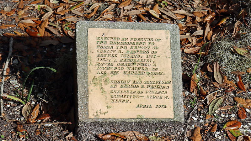 The second historical marker indicates that the statue was erected in memory of Jekyll Island resident Cecily Masters.