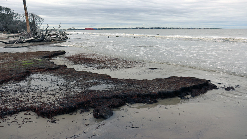 The photos above and below were taken at an area where some parts of the beach were lower than others.